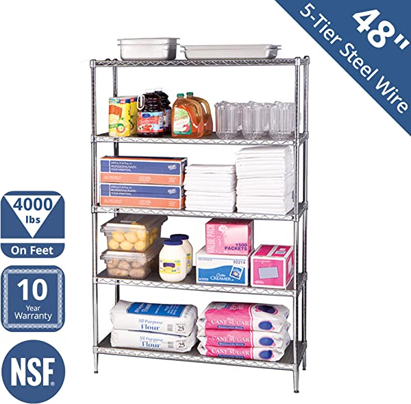 Seville Classics UltraDurable Commercial Grade 5 Tier NSF Certified Steel Wire Shelving With Wheels 48 W X 18 D X 72 H Chrome