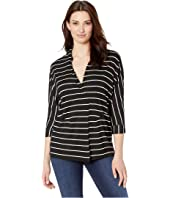 Yarn-Dye Stripe Jersey 3/4 Sleeve Collar Top