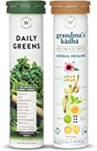 Wellbeing Nutrition Ultimate Body Protection Pack Daily Greens, Whole food Multivitamin with Grandma's Kadha, Ayurvedic Herbal Tea for Cold, Cough, Flu | Natural Immunity Booster (15 x 2 Tablets)