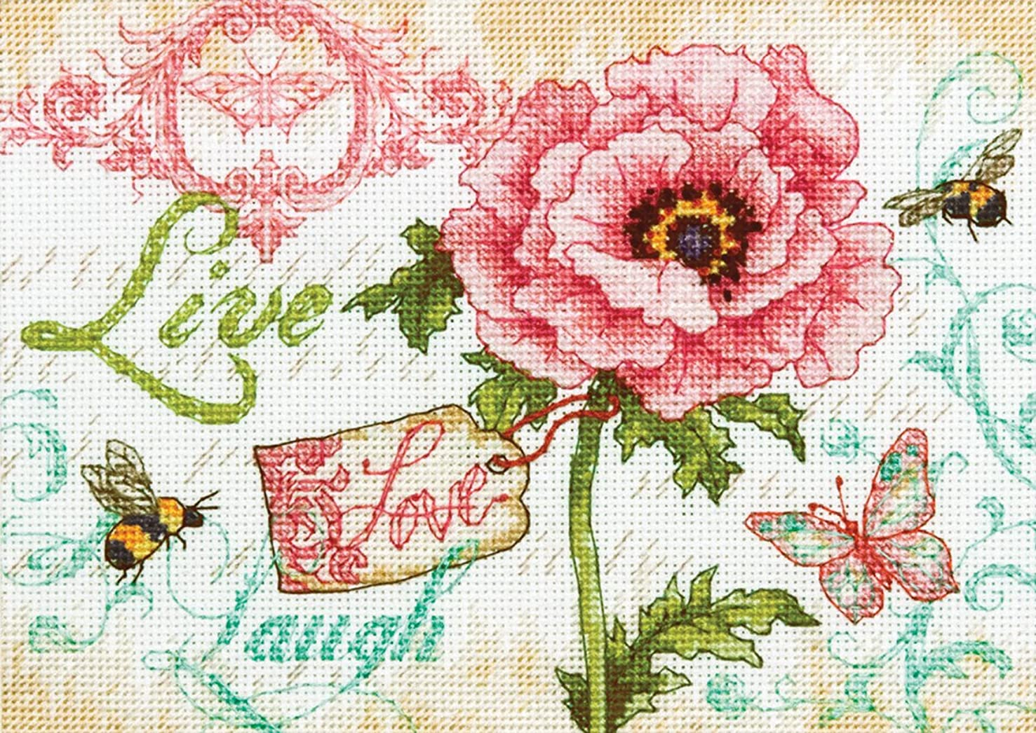 Dimensions Needlecrafts Counted Cross Stitch by Kathryn White, Live, Love and Laugh