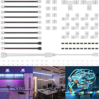 Led Strip Light Connectors Kit, Right Corner Angle Solderless Gapless Adapter, 4 Pin Conductor Light Strip Splice for TV, 10mm Tape Light Connector DIY Accessories for SMD 5050 RGB Multicolor Strip