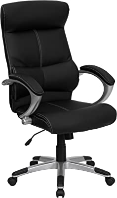 Flash Furniture High Back Black LeatherSoft Executive Swivel Office Chair with Curved Headrest and White Line Stitching