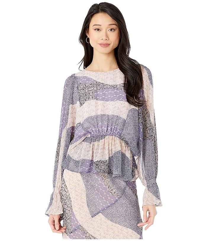 BB Dakota  Easy Breezy Patchwork Floral Printed Chiffon Top (Steel Lavender) Womens Clothing