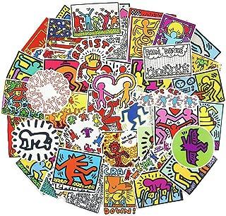 ملصقات جرافيتي فنية لأجهزة الكمبيوتر المحمول 50 قطعة من كيث هارينج ملصقات سيارات خشبية مضحكة للتزلج