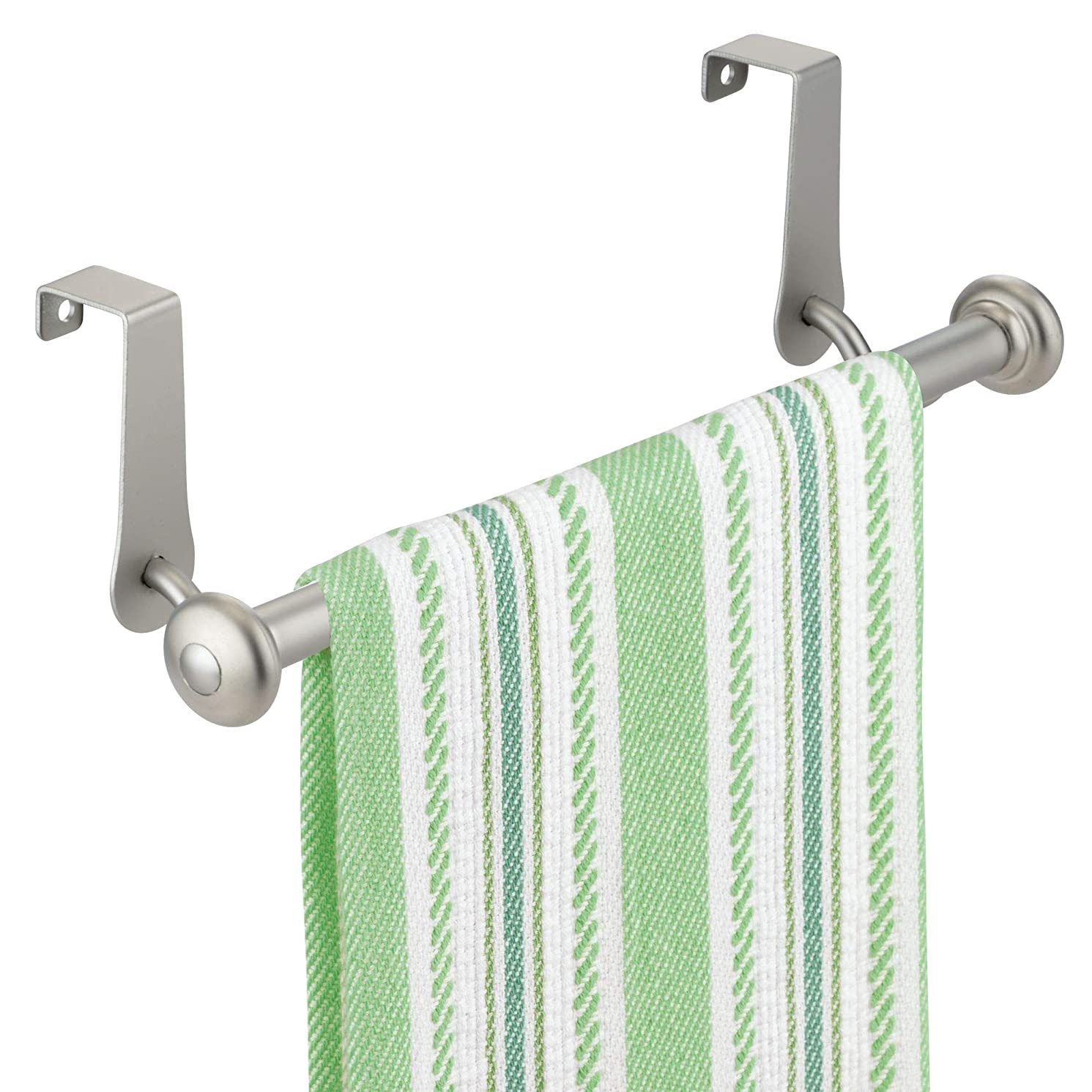 InterDesign York Metal Over the Cabinet Dish and Hand Towel Bar Holder for Kitchen, Bathroom, 3