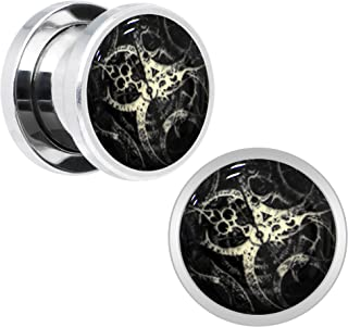 Body Candy Stainless Steel Steampunk Gears Glow in The Dark Screw Fit Plug Pair (5mm to 20mm)