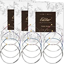 Eastar Violin Strings 4/4 Full Set of 3 (G D A E), Solid Steel Core Violin Strings with Soft Vibrant Tone for Beginners Ad...