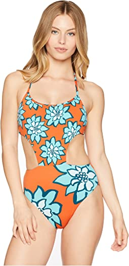 Desert Petals High Leg One-Piece Swimsuit