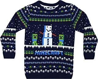 Vanilla Underground Minecraft Creeper Snow Day Knitted Long Sleeve Christmas Jumper (7-8 Years)