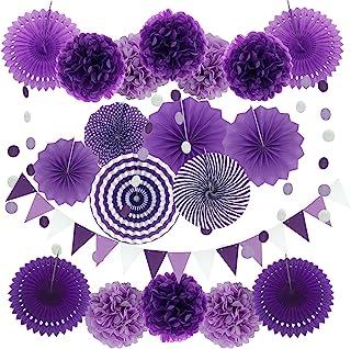 Zerodeco Party Decoration 21 Pcs Purple And Lavender Hanging Paper Fans Pom Poms Flowers