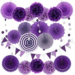 ZERODECO Party Decoration, 21 Pcs Purple and Lavender Hanging Paper Fans, Pom Poms Flowers, Garlands String Polka Dot and Triangle Bunting Flags for Birthday Parties, Bridal Showers, Baby Showers, Wedding, Mermaid Party