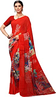 Vaamsi Women's Poly Georgette Saree with Blouse (PC1125_Red)