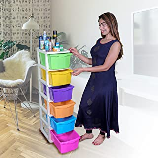 PARASNATH Boxo 6 Layer (Multicolour) Multi-Purpose Modular Drawer Storage System for Home and Office with Trolley Wheels a...