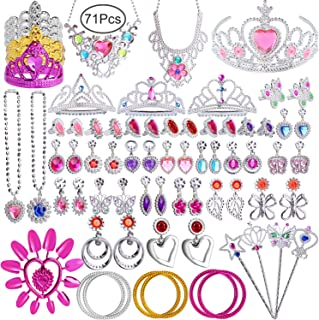 Hicdaw 71PCS Princess Pretend Jewelry Toy Girls Dress Up Jewelry with Princess Wand Tiara Necklace Earrings Rings Bracelets for Birthday Party Favor Gift for Girls