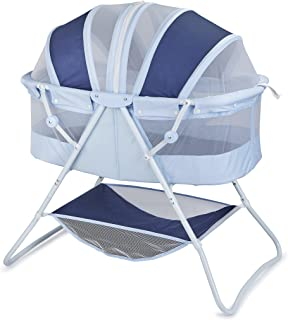 Big Oshi Emma Newborn Baby Bassinet - Portable Bassinet for Boys or Girls - Perfect for Bedside, Indoors, or Outdoors - Lightweight for Travel - Canopy Netting Cover - Wood Bed Base, Navy