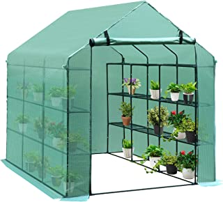 Outsunny 8' x 6' x 7' Portable Water/UV Walk-in Greenhouse Hot House with 18 Shelves, Weather Cover, & Roll Up Door