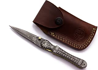 WolfKlinge DCX18-109 Handmade Damascus Steel Pocket Knife, Damascus Handle, with Cowhide Leather Sheath Be the first to review this item