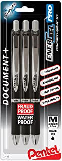 Pentel EnerGel Pro Permanent Gel Ink Pen, (0.7mm) Black Ink, 3 Pack (BLP77BP3A)