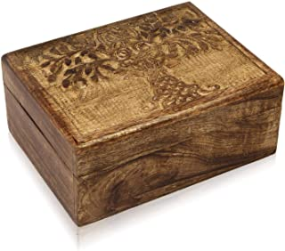 The Great Indian Bazaar Handmade Decorative Wooden Jewelry Box Tree Life Carvings Jewelry Organizer Keepsake Box Treasure Chest Trinket Holder Memory Box Watch Box 9 x 6 Inch Her
