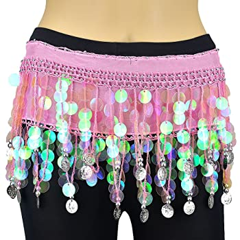 Buy Vritraz Women S Chiffon Belly Dance Hip Scarf Waistband Belt Skirt With128 Ringy Golden Coins Pink Online At Low Prices In India Amazon In