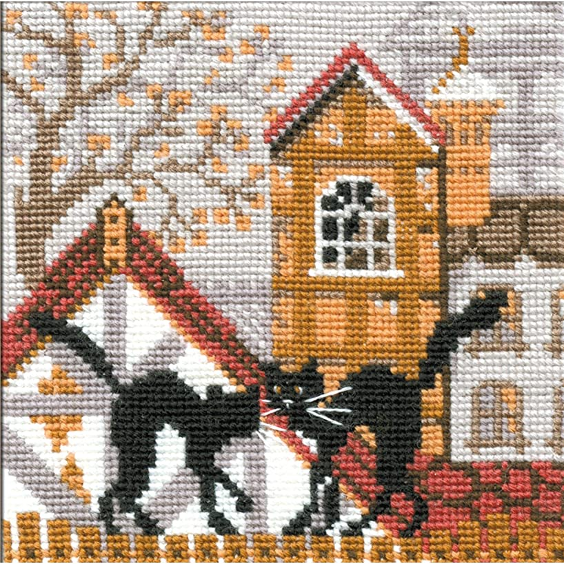 Riolis City and Cats Autumn Counted Cross Stitch Kit, 5 by 5-Inch