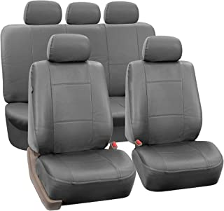 FH Group PU002SOLIDGRAY115 Gray Faux Leather Split Bench Auto Seat Cover (Full Set Airbags Compatible and Split Bench Cover)