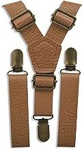 London Jae Apparel Suspender (Vintage Tan, Brass Clips) Rustic Brown Leather Like Groomsmen Wedding Suspenders Braces