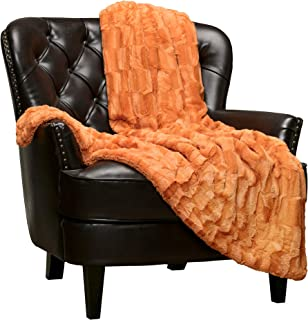 Chanasya Super Soft Fuzzy Faux Fur Elegant Rectangular Embossed Throw Blanket | Fluffy Plush Sherpa Cozy Pumpkin Microfiber Blanket for Bed Couch Living Room Fall Winter Spring (50x65) - Orange