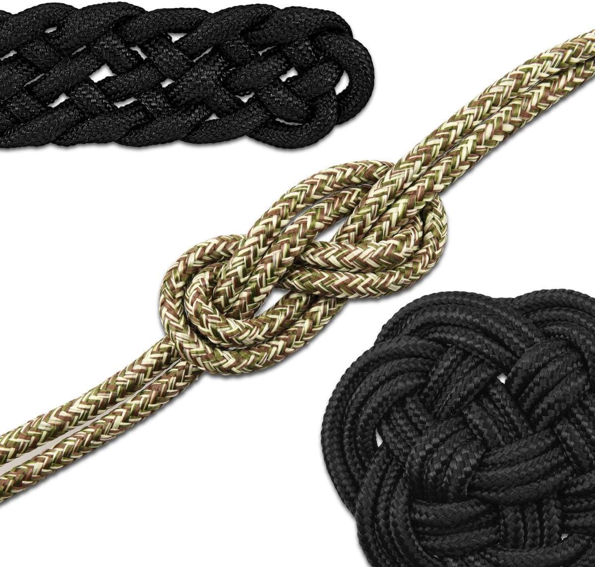 Navaris Cuerda Multiusos de Supervivencia - Cordón Negro de Camuflaje para Pescar Hacer Senderismo Acampar de 15M 9MM - No Apto para Escalar