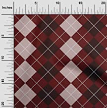 oneOone Cotton Silk Maroon Fabric Argyle Check Sewing Craft Projects Fabric Prints by Meter 42 Inch Wide