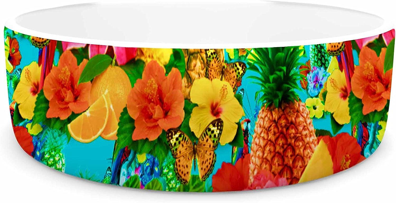 KESS InHouse Shirlei Patricia Muniz Tropical Style  Yellow Nature Pet Bowl, 4.75