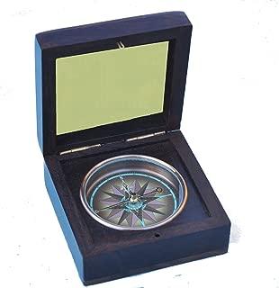 Stanley London Engravable Captain's Rosewood Desk Compass