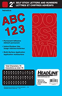 Headline Sign 31213 Stick-On Vinyl Letters and Numbers, Red, 2-Inch