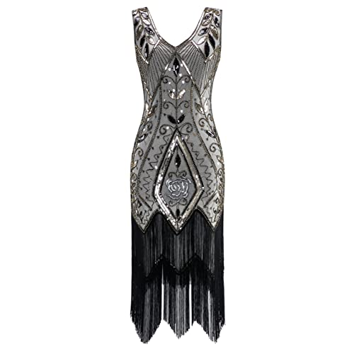 3fe9aad212d3 Metme Women's 1920s Vintage Flapper Fringe Beaded Great Gatsby Party Dress