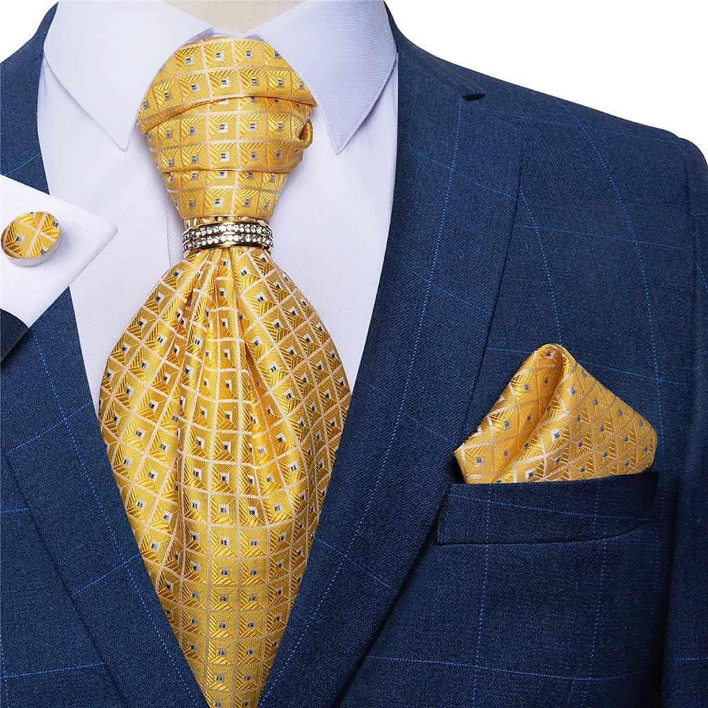 YTREI Mens Classic Cravat Ties Yellow Check Dot Silk Jacquard Cravat Necktie Pocket Square Set for Wedding Party (Color : Yellow Check, Size : One Size)