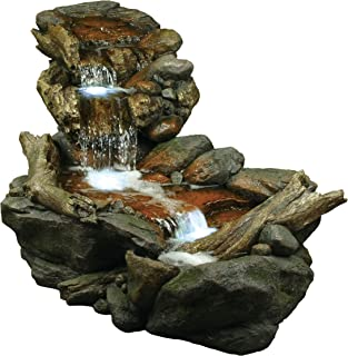 Alpine Corporation 3-Tier Rainforest Rock Water Fountain with LED Lights - Outdoor Water Fountain for Garden, Patio, Deck, Porch - Yard Art Decor