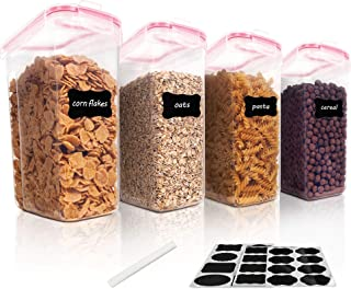Vtopmart Cereal Storage Container Set, BPA Free Plastic Airtight Food Storage Containers 135.2 fl oz for Cereal, Snacks an...