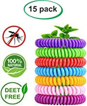 Kurtino 15-Pack Mosquito Repellent Bracelet for Kids, Adults & Pets.100% Natural Plant-Based Oil, DEET-Free, Non-Toxic, Waterproof, Safe Travel Anti Bug & Insect Wrist Band 240 Hours
