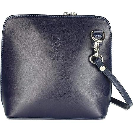 Bellissimo BELLI italienische Ledertasche Damen Umhängetasche klein Handtasche Schultertasche Abendtasche blau - 17x16,5x8,5 cm (B x H x T)