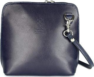 Belli italienische Ledertasche Damen Umhängetasche klein Handtasche Schultertasche Abendtasche blau - 17x16,5x8,5 cm B x H x T