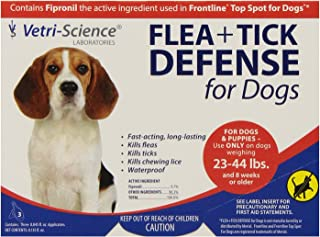 VetriScience Laboratories Flea + Tick Defense for 23 to 44-Pound Dogs and Puppies 3 Doses