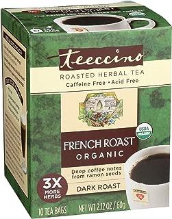 Teeccino French Roast Organic Chicory Roasted Herbal Tea, Caffeine Free, Acid Free, Prebiotic Coffee Substitute, 10 Tea Bags