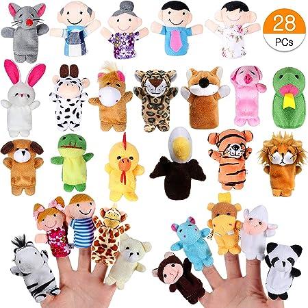 Joinfun 28pcs Marionnettes Doigt Enfants 22pcs Cartoon Animaux Jouets Main 6pcs Personnes Membres de la Famille marionnettes pour bébé Enfants