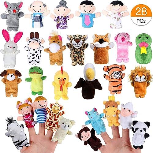 Joinfun 28pcs Marionnettes Doigt Enfants 22pcs Cartoon Animaux Jouets Main 6pcs Personnes Membres de la Famille mario...
