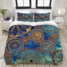 HKIDOYH Duvet Cover Set,Art Grunge Stylized Damask Pattern with Circles Floral Ornament in Blue, Orange and Gold Colors,Po...