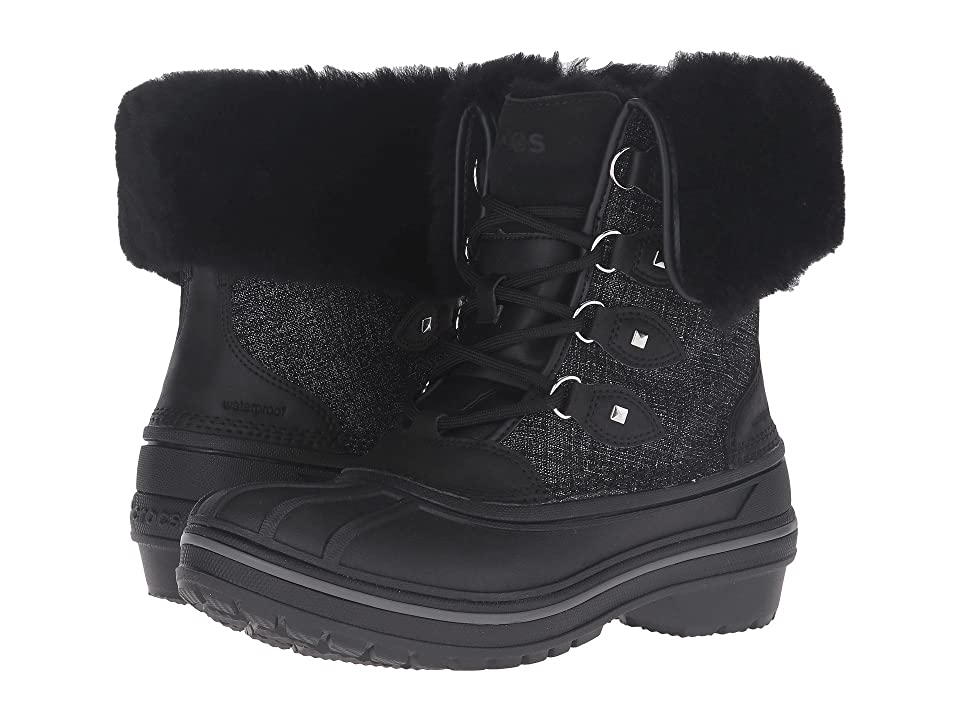 800cdb8bb Crocs AllCast II Luxe Boot (Black Shimmer) Women
