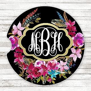 Personalized Monogram Sandstone Car Coaster Gold Frame Boho Floral Wreath Black Background Set of 2