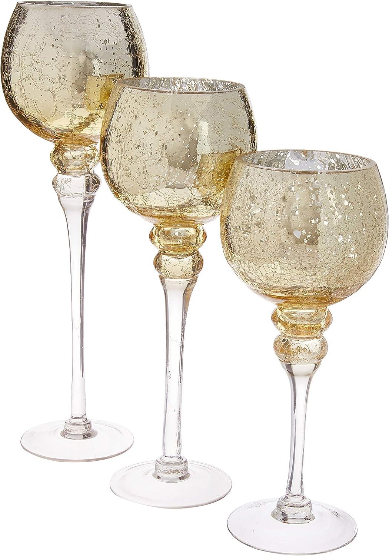 Regular dealer CYS EXCEL Mercury Gold Topics on TV Crackle Glass Stem Long S Candle Holder