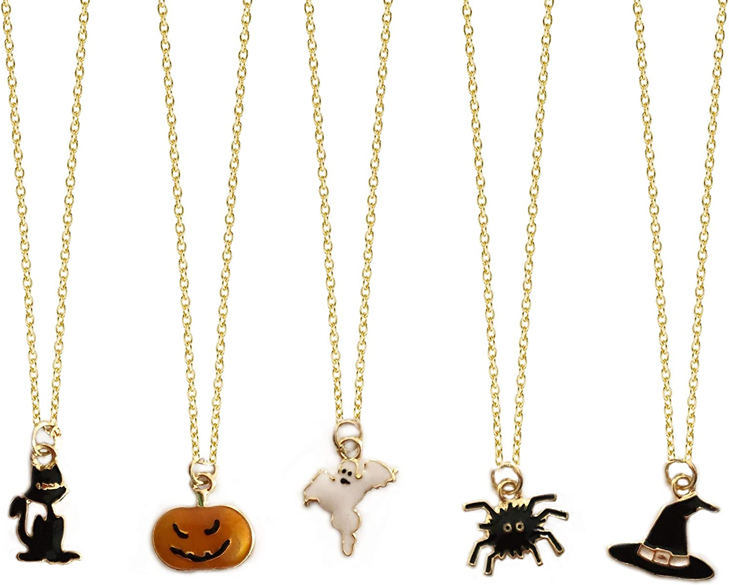 LUX ACCESSORIES Halloween Black Cat Spooky Pumpkin Ghost Spider Witch Hat Set of 5 Chain Necklaces