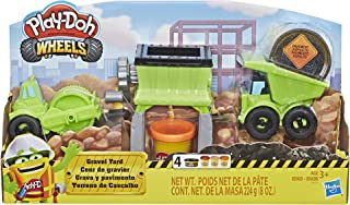 Play-Doh Wheels Gravel Yard Construction Toy with Non-Toxic Pavement Buildin' Compound Plus 3 Additional Colours